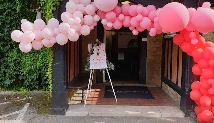Ombre Balloon Garland Party Entrance from a Snow White Birthday Party on Kara's Party Ideas | KarasPartyIdeas.com (9)