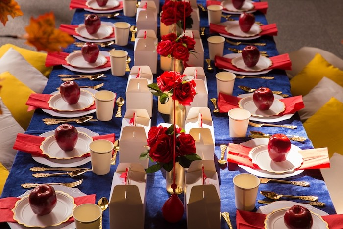 Snow White Themed Dining Table from a Snow White Birthday Party on Kara's Party Ideas | KarasPartyIdeas.com (7)