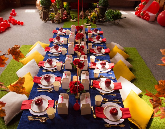 Snow White Themed Kid Dining Table from a Snow White Birthday Party on Kara's Party Ideas | KarasPartyIdeas.com (5)