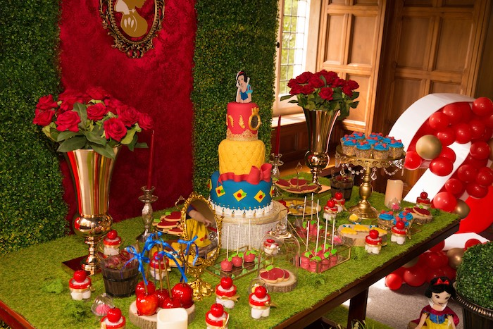 Snow White Themed Dessert Table from a Snow White Birthday Party on Kara's Party Ideas | KarasPartyIdeas.com (3)