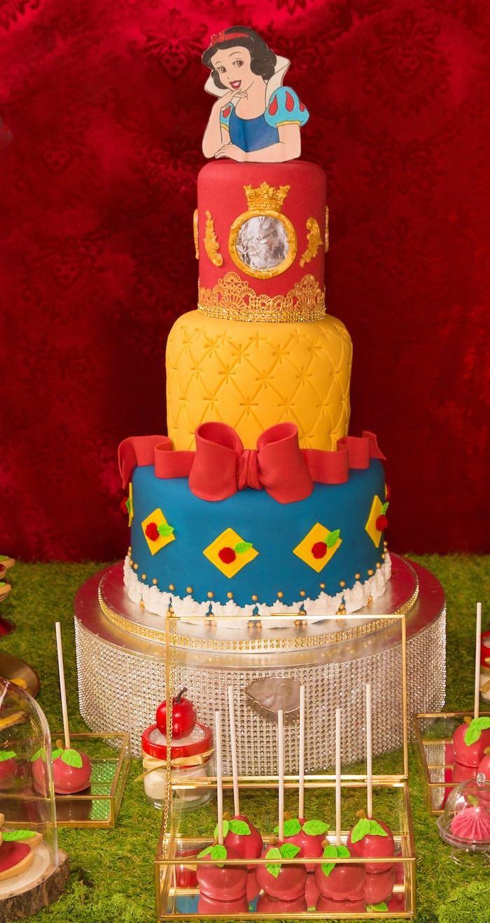 Snow White Themed Birthday Cake from a Snow White Birthday Party on Kara's Party Ideas | KarasPartyIdeas.com (24)