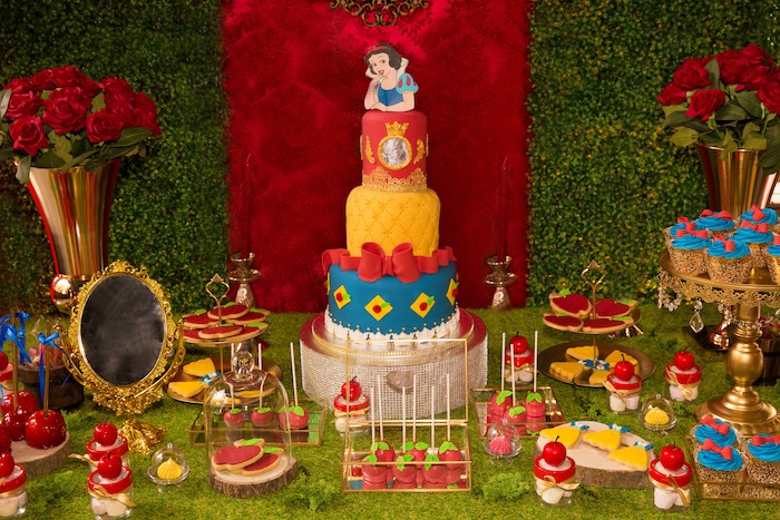 Snow White Themed Dessert Table from a Snow White Birthday Party on Kara's Party Ideas | KarasPartyIdeas.com (22)