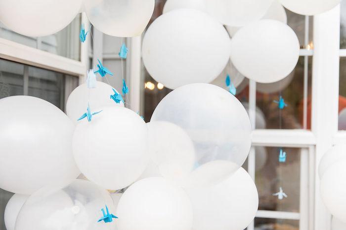 Blue Birds Fly - Cloud Balloon Installation from a Somewhere Over the Rainbow Birthday Party on Kara's Party Ideas | KarasPartyIdeas.com (13)