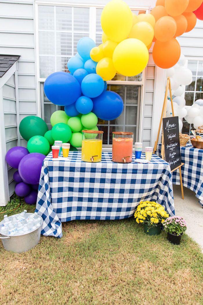 Rainbow Balloon Garland + Beverage Table from a Somewhere Over the Rainbow Birthday Party on Kara's Party Ideas | KarasPartyIdeas.com (11)