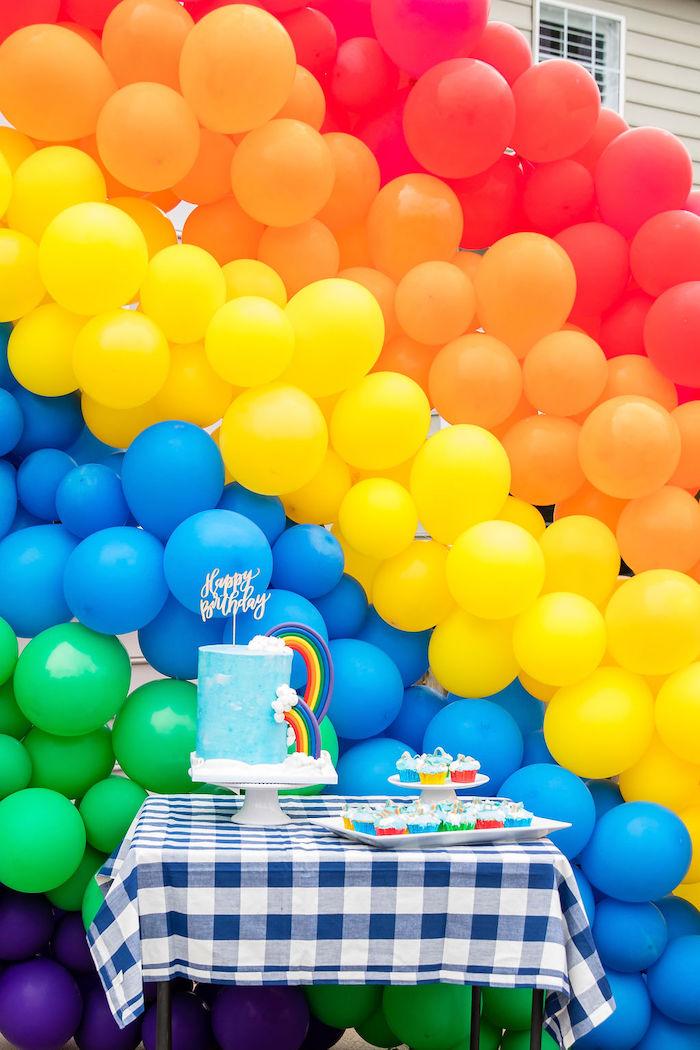 Rainbow Cake Table from a Somewhere Over the Rainbow Birthday Party on Kara's Party Ideas | KarasPartyIdeas.com (10)