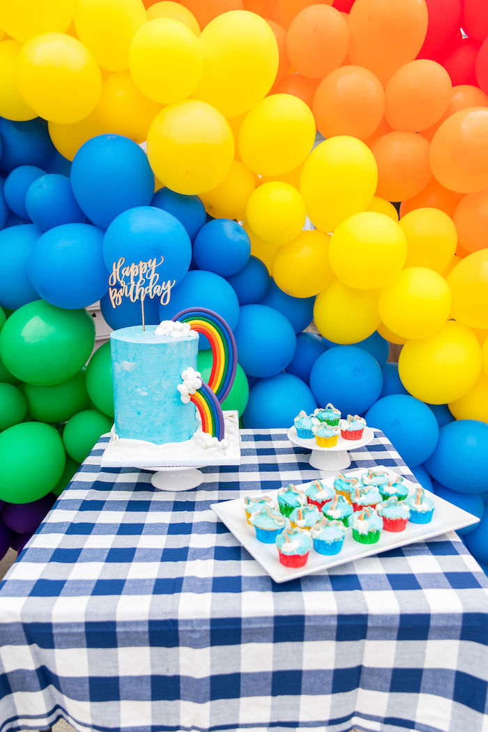 Rainbow Cake + Cupcakes from a Somewhere Over the Rainbow Birthday Party on Kara's Party Ideas | KarasPartyIdeas.com (9)