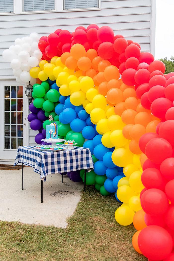 Rainbow Balloon Installation from a Somewhere Over the Rainbow Birthday Party on Kara's Party Ideas | KarasPartyIdeas.com (8)