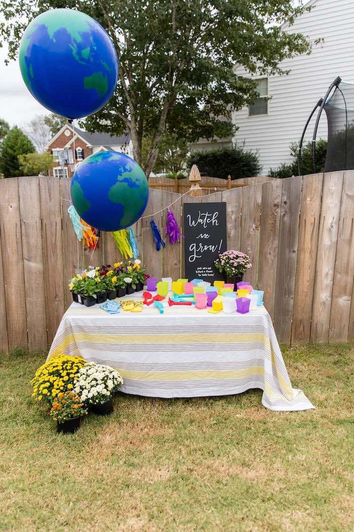 """Watch me grow"" - Plant Favor Table from a Somewhere Over the Rainbow Birthday Party on Kara's Party Ideas | KarasPartyIdeas.com (7)"