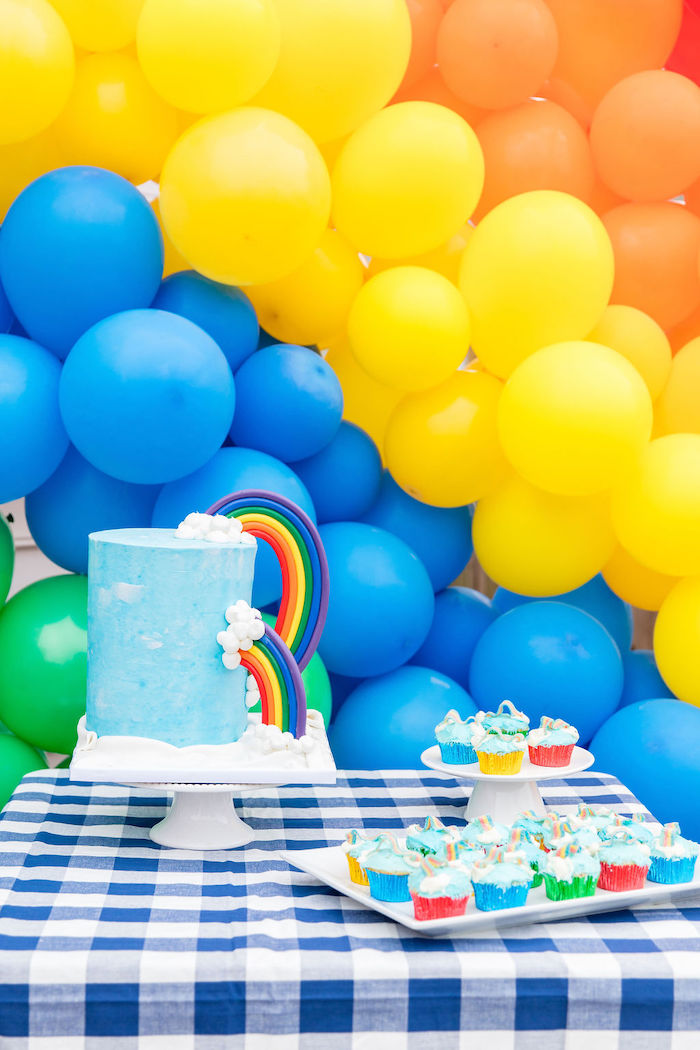 Rainbow Cake + Cake Table from a Somewhere Over the Rainbow Birthday Party on Kara's Party Ideas | KarasPartyIdeas.com (25)