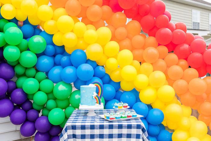Rainbow Themed Cake Table from a Somewhere Over the Rainbow Birthday Party on Kara's Party Ideas | KarasPartyIdeas.com (24)