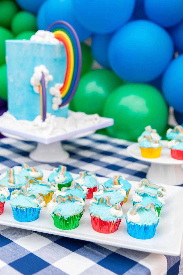 Rainbow Cupcakes from a Somewhere Over the Rainbow Birthday Party on Kara's Party Ideas | KarasPartyIdeas.com (23)