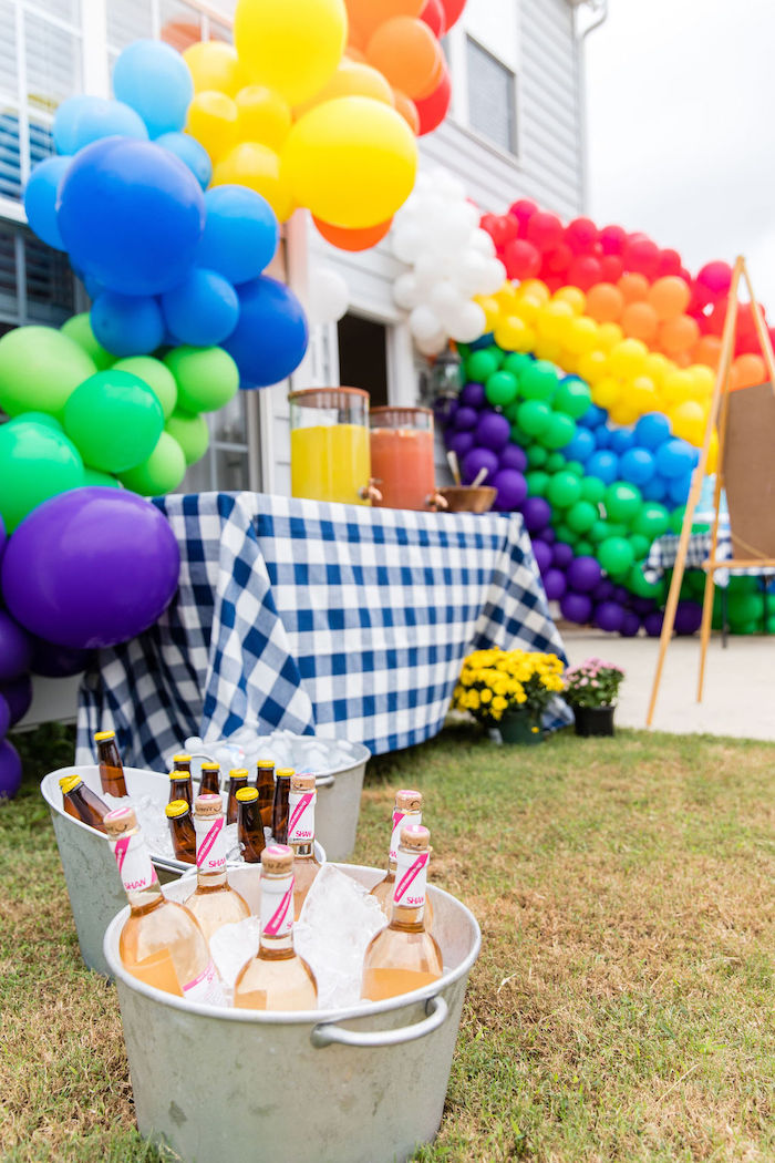 Beverages in Galvanized Bins from a Somewhere Over the Rainbow Birthday Party on Kara's Party Ideas | KarasPartyIdeas.com (20)