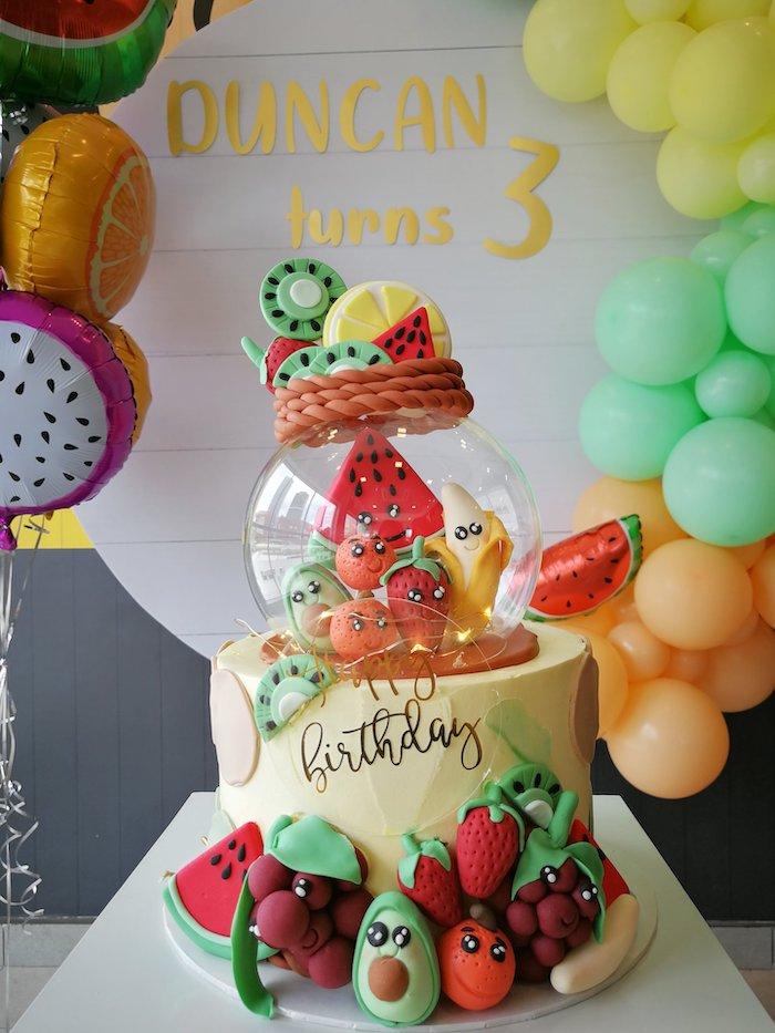TUTTI FRUTTI CAKE from a Tutti Frutti Birthday Party on Kara's Party Ideas | KarasPartyIdeas.com (4)
