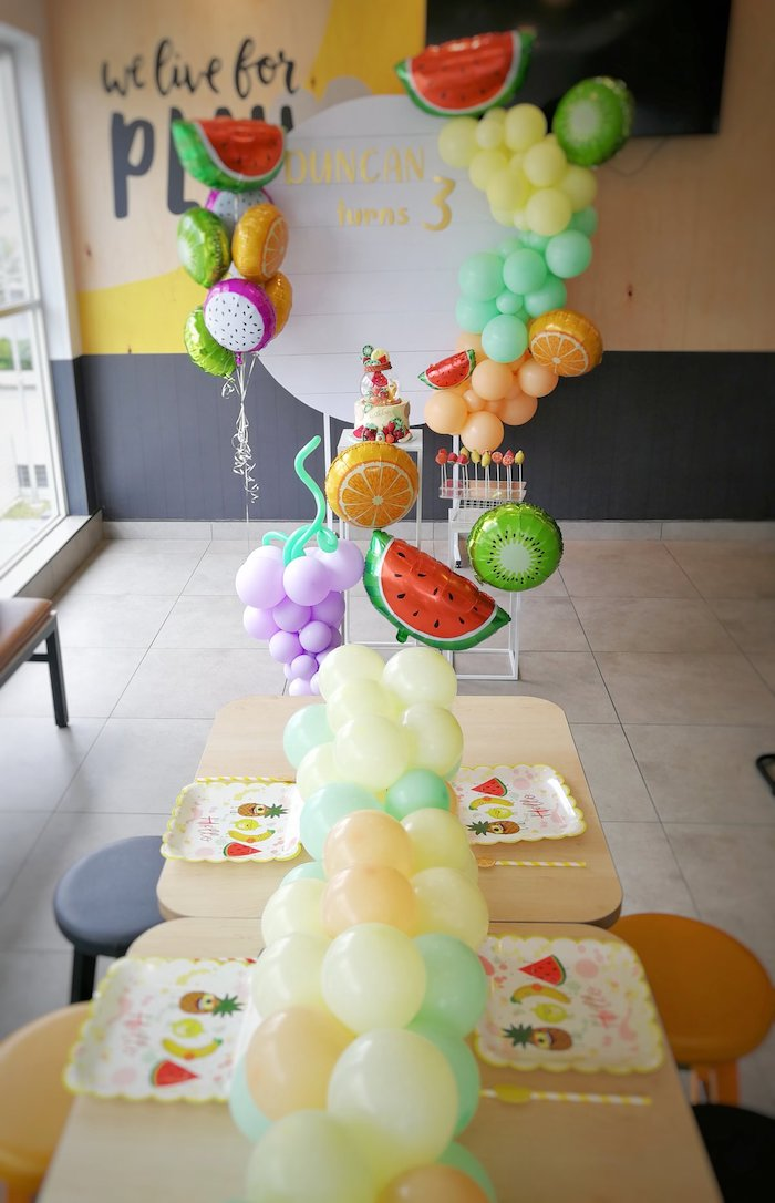 Fruit Themed Party Tables + Spread from a Tutti Frutti Birthday Party on Kara's Party Ideas | KarasPartyIdeas.com (11)
