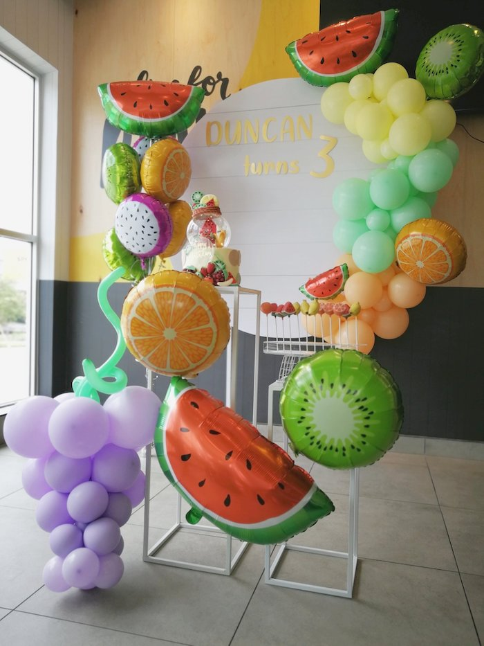 Fruit Themed Cake Pedestal from a Tutti Frutti Birthday Party on Kara's Party Ideas | KarasPartyIdeas.com (10)