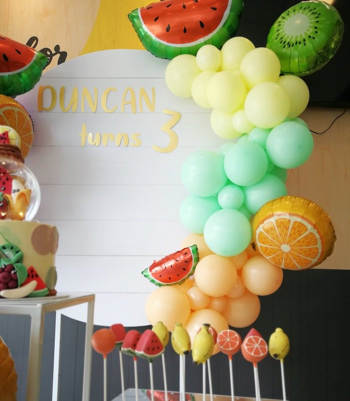 Fruit Themed Balloon Garland from a Tutti Frutti Birthday Party on Kara's Party Ideas | KarasPartyIdeas.com (7)