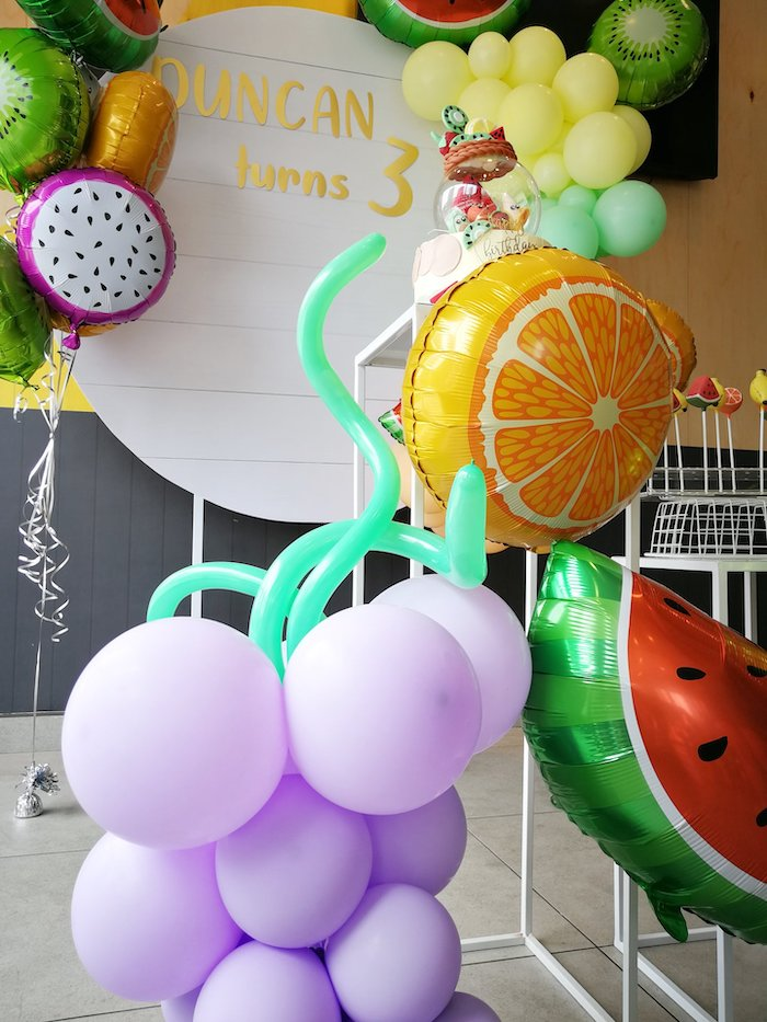 Grape-inspired Balloon Installation from a Tutti Frutti Birthday Party on Kara's Party Ideas | KarasPartyIdeas.com (5)