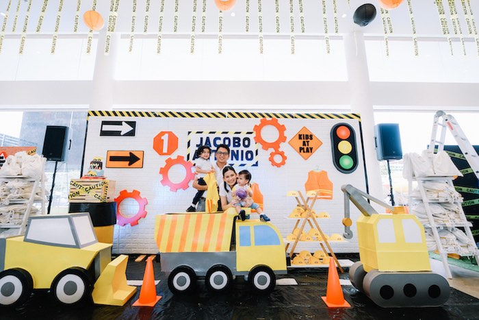 Construction Trucks + Backdrop from an Under Construction Birthday Party on Kara's Party Ideas | KarasPartyIdeas.com (7)