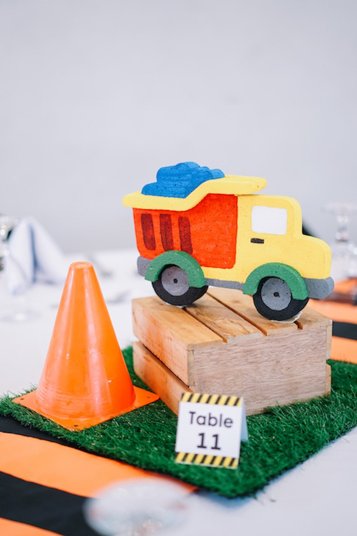 Construction Themed Table Centerpieces from an Under Construction Birthday Party on Kara's Party Ideas | KarasPartyIdeas.com (6)