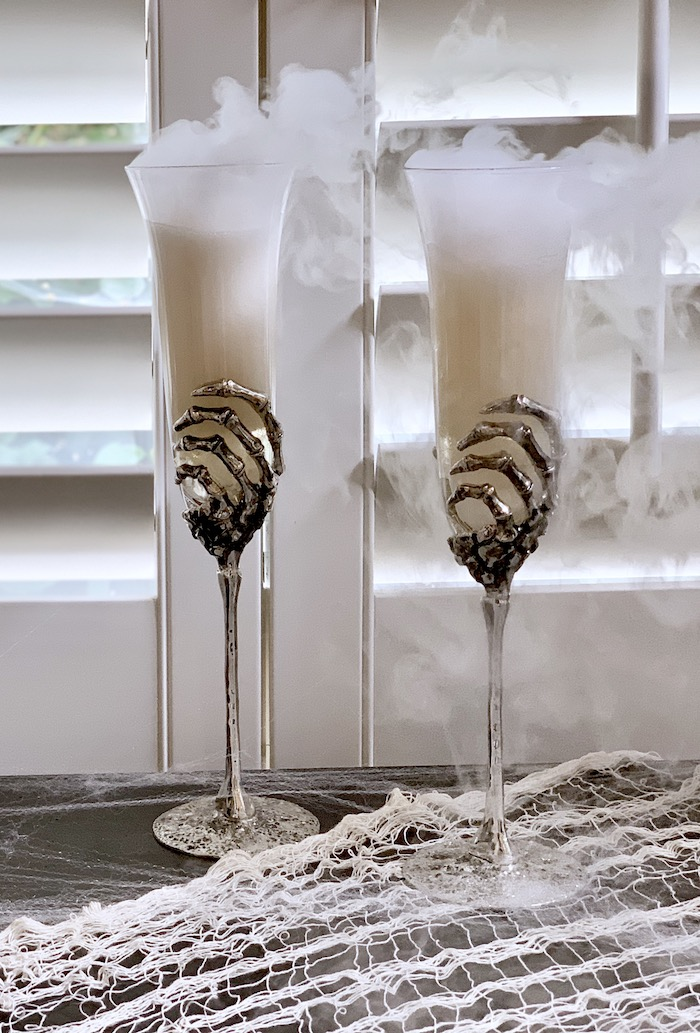 Dry Ice Champagne from a Haunted Halloween Dinner Party on Kara's Party Ideas | KarasPartyIdeas.com