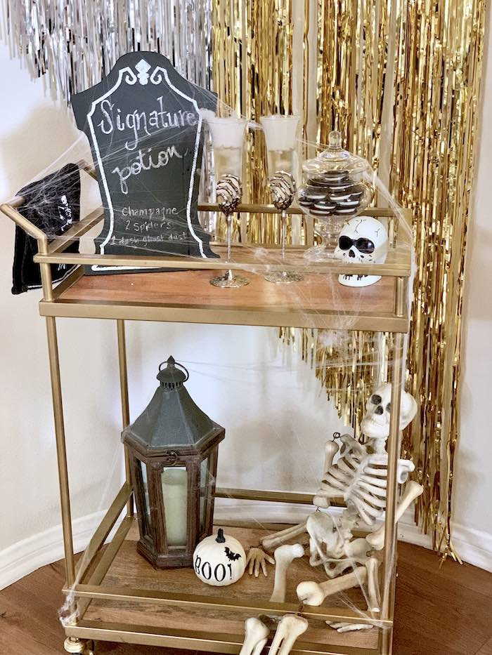 Halloween Bar Cart from a Haunted Halloween Dinner Party on Kara's Party Ideas | KarasPartyIdeas.com