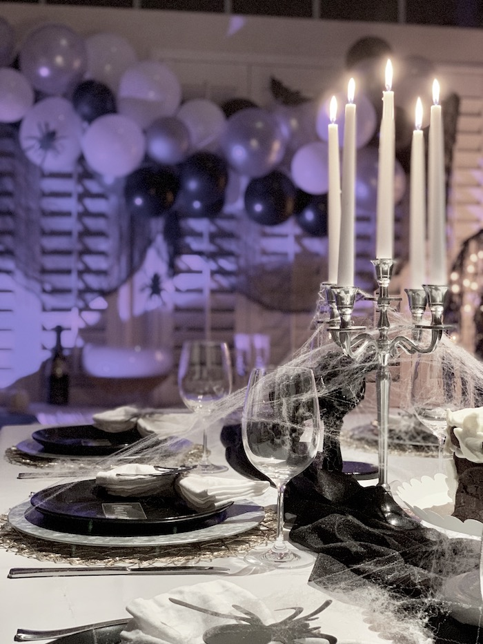 Halloween Dinner Tablescape from a Haunted Halloween Dinner Party on Kara's Party Ideas | KarasPartyIdeas.com