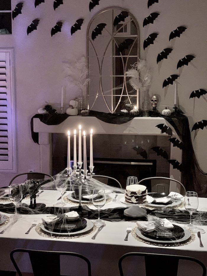 Halloween Party Table from a Haunted Halloween Dinner Party on Kara's Party Ideas | KarasPartyIdeas.com