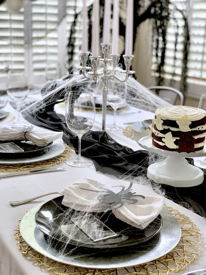 Haunted Halloween Dinner Table from a Haunted Halloween Dinner Party on Kara's Party Ideas | KarasPartyIdeas.com