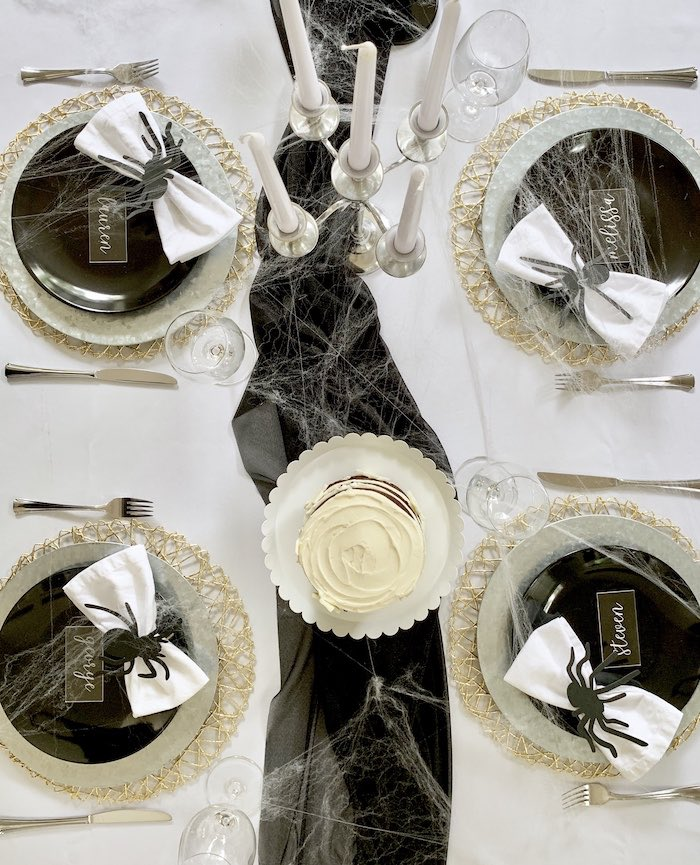 Table overhead from a Haunted Halloween Dinner Party on Kara's Party Ideas | KarasPartyIdeas.com