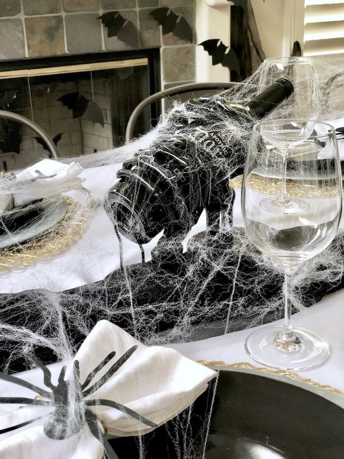 Wine display from a Haunted Halloween Dinner Party on Kara's Party Ideas | KarasPartyIdeas.com