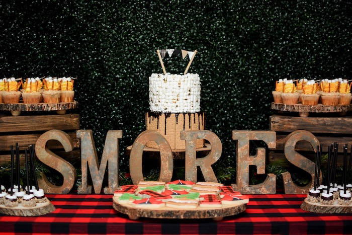 "S'mores Themed Dessert Table from a ""Happy Camper"" Rustic Camping Birthday Party on Kara's Party Ideas 