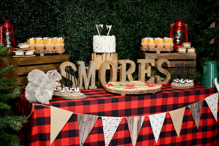 "S'mores Camper Table from a ""Happy Camper"" Rustic Camping Birthday Party on Kara's Party Ideas 