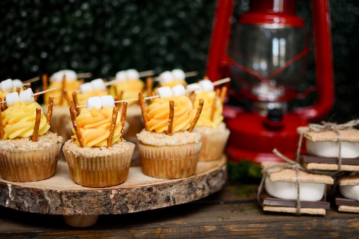 "Campfire Cupcakes from a ""Happy Camper"" Rustic Camping Birthday Party on Kara's Party Ideas 