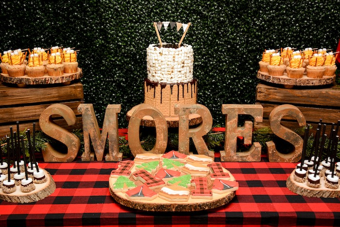 "Camping Themed Dessert Table from a ""Happy Camper"" Rustic Camping Birthday Party on Kara's Party Ideas 