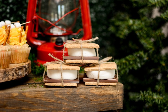 "S'more Bundles from a ""Happy Camper"" Rustic Camping Birthday Party on Kara's Party Ideas 