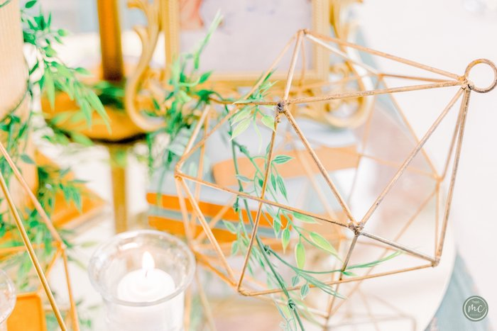 Gold wire decoration weaved with laurel garland from an Ancient Greece Inspired Birthday Party on Kara's Party Ideas | KarasPartyIdeas.com (12)