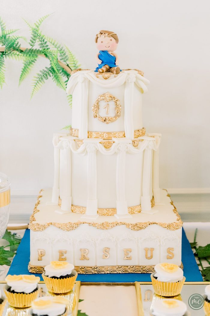 Greek Temple Cake from an Ancient Greece Inspired Birthday Party on Kara's Party Ideas | KarasPartyIdeas.com (10)