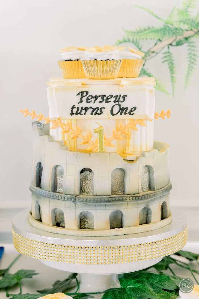 Greek Temple Cake from an Ancient Greece Inspired Birthday Party on Kara's Party Ideas | KarasPartyIdeas.com (8)