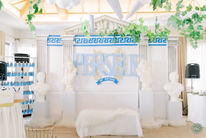 Greek Temple Backdrop + Photo Booth from an Ancient Greece Inspired Birthday Party on Kara's Party Ideas | KarasPartyIdeas.com (24)