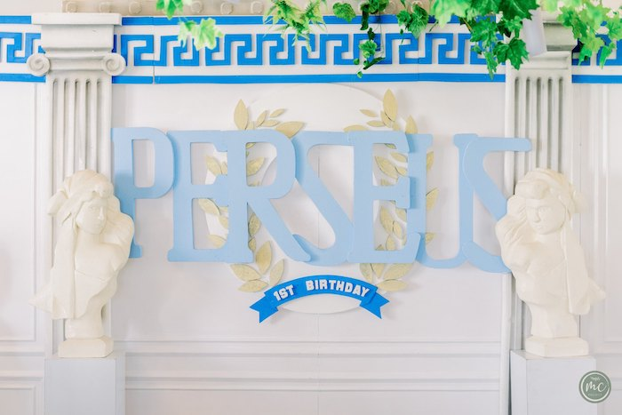 Greek Temple Name Banner from an Ancient Greece Inspired Birthday Party on Kara's Party Ideas | KarasPartyIdeas.com (23)