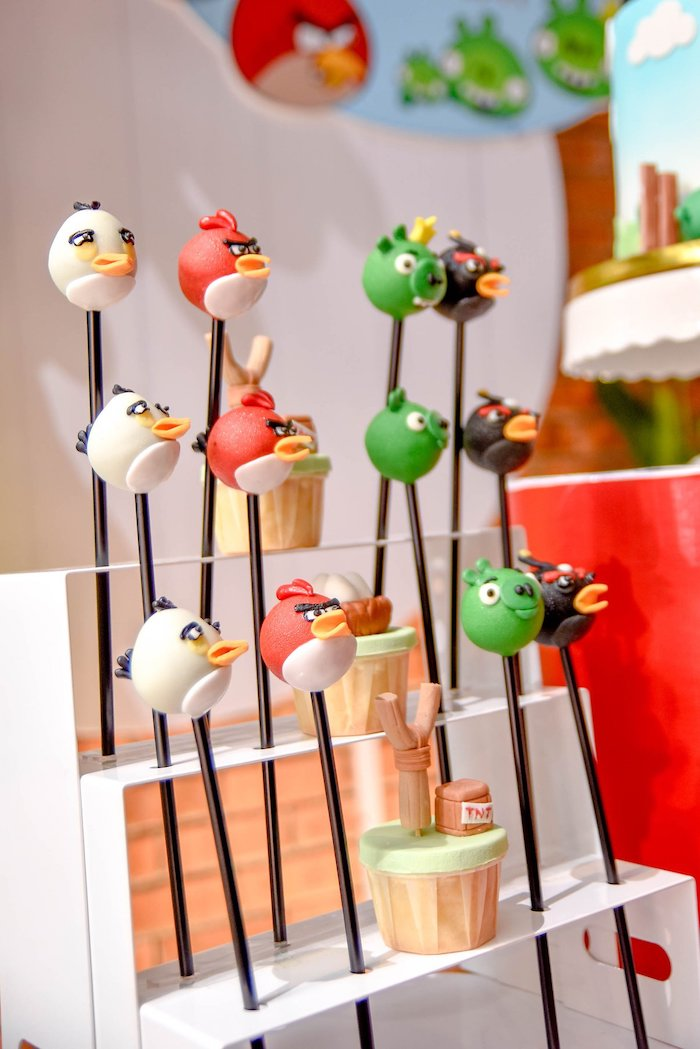 Angry Birds Cake Pops from an Angry Birds Birthday Party on Kara's Party Ideas | KarasPartyIdeas.com (20)