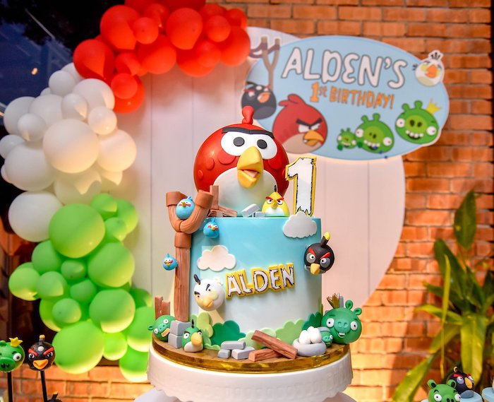 Angry Birds Birthday Cake from an Angry Birds Birthday Party on Kara's Party Ideas | KarasPartyIdeas.com (14)
