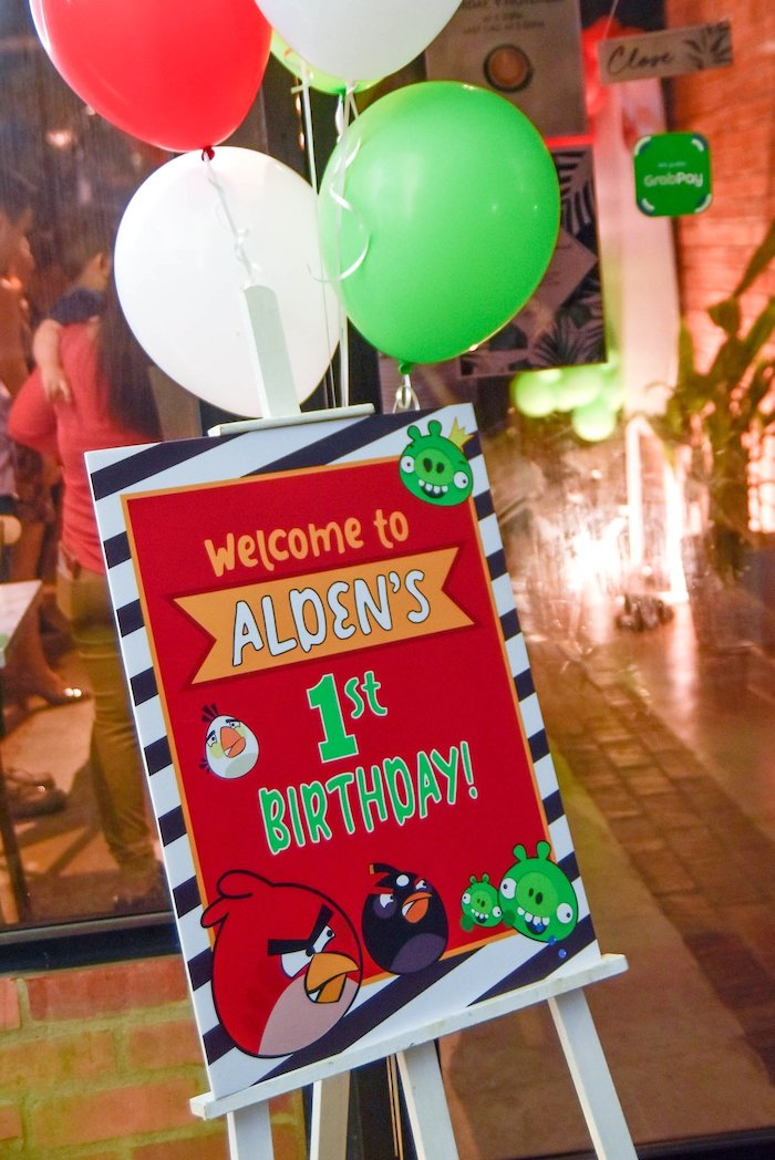 Angry Birds Themed Welcome Sign from an Angry Birds Birthday Party on Kara's Party Ideas | KarasPartyIdeas.com (12)