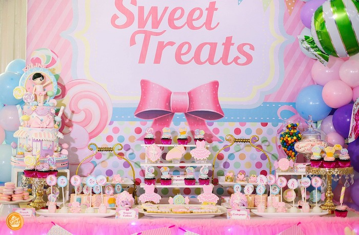 Candy Themed Dessert Table from a Ballerinas in Candy Land Birthday Party on Kara's Party Ideas | KarasPartyIdeas.com (20)
