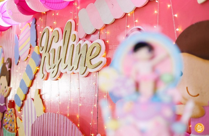 Twinkle Light Name Backdrop from a Ballerinas in Candy Land Birthday Party on Kara's Party Ideas | KarasPartyIdeas.com (19)
