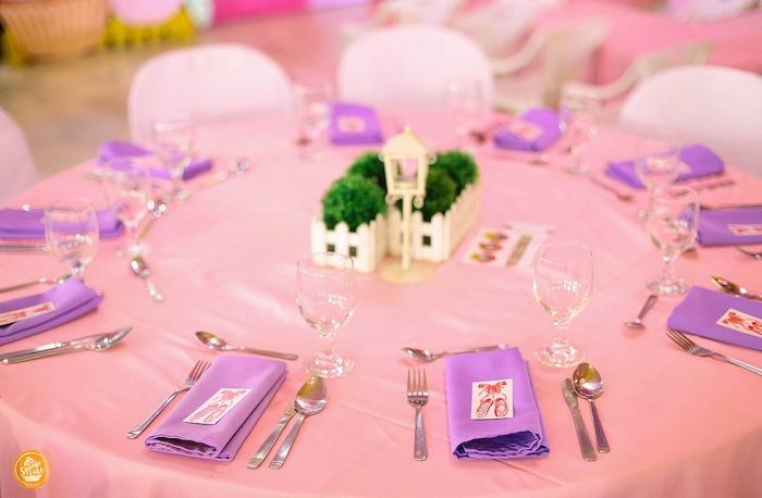 Pink + Purple Guest Table from a Ballerinas in Candy Land Birthday Party on Kara's Party Ideas | KarasPartyIdeas.com (18)