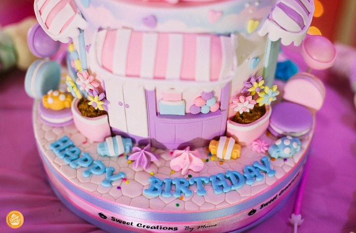Candy Themed Birthday Cake Detail from a Ballerinas in Candy Land Birthday Party on Kara's Party Ideas | KarasPartyIdeas.com (17)