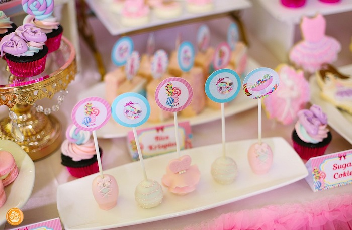 Ballet Themed Cake Pops from a Ballerinas in Candy Land Birthday Party on Kara's Party Ideas | KarasPartyIdeas.com (16)