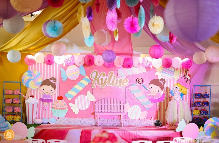 Candy Themed Party Backdrop + Stage from a Ballerinas in Candy Land Birthday Party on Kara's Party Ideas | KarasPartyIdeas.com (15)