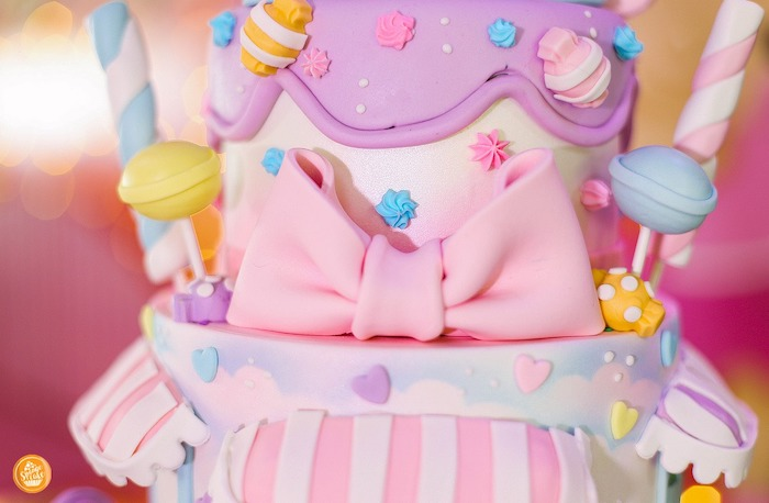 Candy Themed Birthday Cake Detail from a Ballerinas in Candy Land Birthday Party on Kara's Party Ideas | KarasPartyIdeas.com (12)